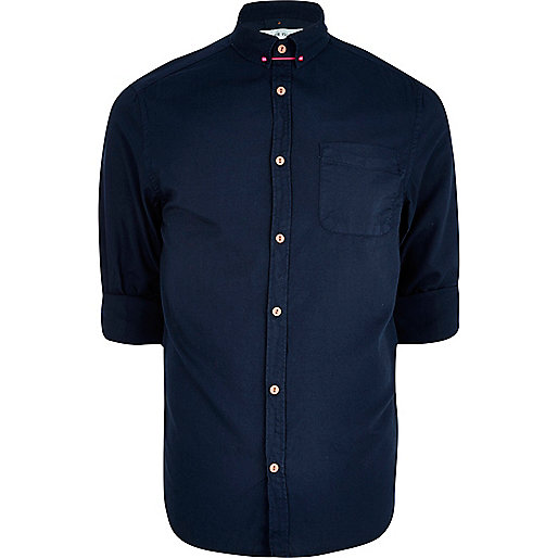 Navy collar pin Oxford shirt