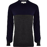 Navy colour block crew neck jumper