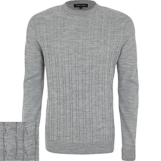 Light grey cable knit jumper