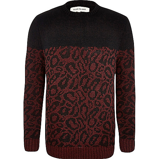 Red leopard print two-tone jumper