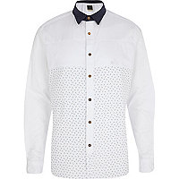 White Holloway Road scissor print panel shirt