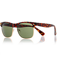 Brown tortoise shell half frame sunglasses