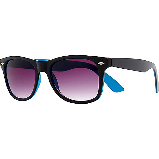 Black matte two-tone retro sunglasses