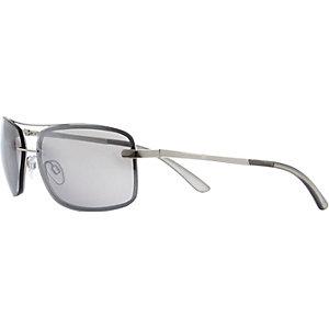 Silver tone wrap aviator sunglasses