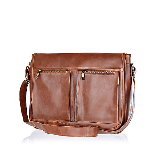 Tan double pocket messenger bag