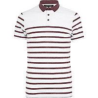White faded stripe polo shirt