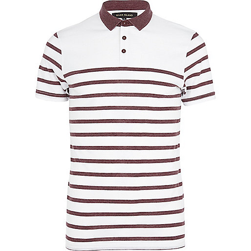 White faded stripe polo shirt