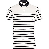 White stripe polo shirt
