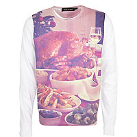 White Christmas dinner print sweatshirt