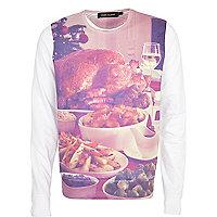 White Christmas dinner print sweatshirt
