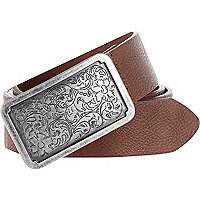 Brown paisley plate buckle belt