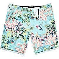 Light blue bird print swim shorts