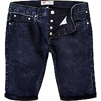 Dark acid wash denim shorts