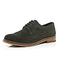 Dark grey suede wingtip brogues