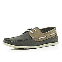 Grey contrast lace boat shoes