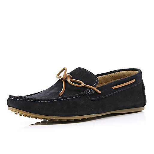 Navy contrast lace boat shoes