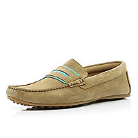Light brown contrast trim loafers