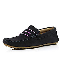 Navy contrast trim loafers