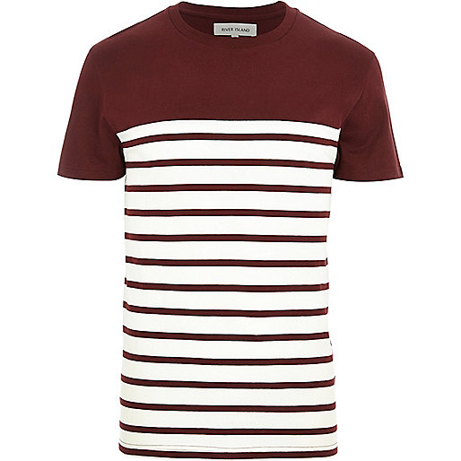 Dark red breton stripe contrast yoke t-shirt