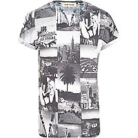 White monochrome photo print t-shirt