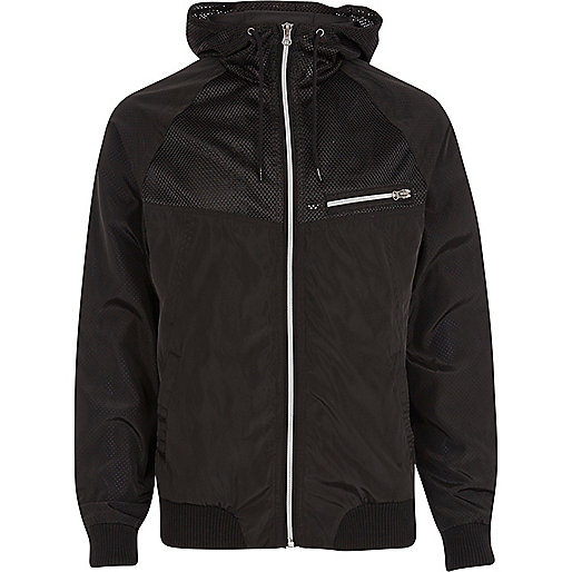 Black mesh panel hooded jacket
