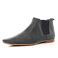 Grey leather pointed Chelsea boots