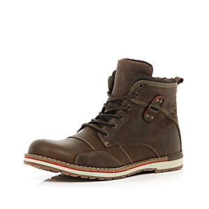 Brown lace up worker boots