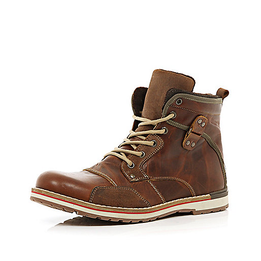 Brown distressed lace up worker boots