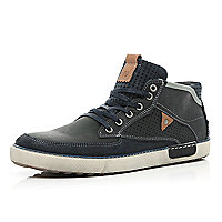 Navy perforated panel high tops