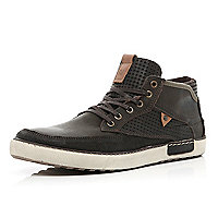 Dark brown perforated panel high tops