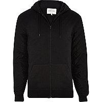 Black quilted nylon sleeve hoodie