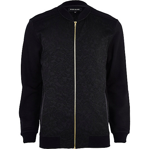 Black baroque bomber jacket