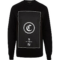 Black C chain print sweatshirt