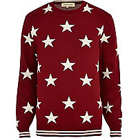 Red star print jumper
