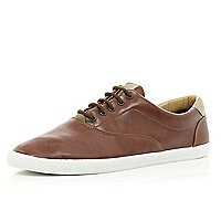 Brown leather-look plimsolls