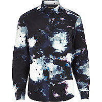 Navy cosmic print long sleeve shirt
