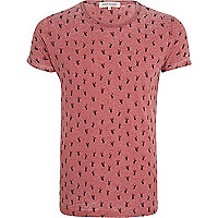 Red stag print burnout t-shirt