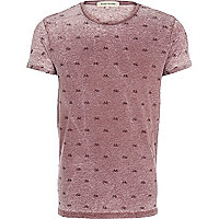 Red bicycle print burnout t-shirt