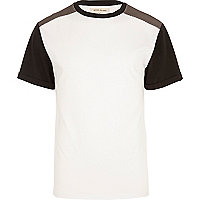 White mesh shoulder patch t-shirt