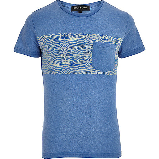 Blue burnout zebra print t-shirt