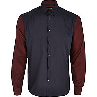 Navy contrast sleeve shirt