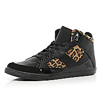 Black leopard print panel high tops