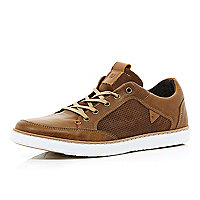 Tan perforated panel trainers