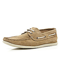 Light brown perforated boat shoes