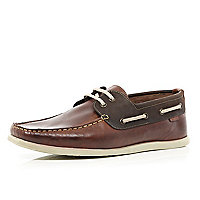 Brown two-tone boat shoes