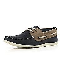 Navy two-tone boat shoes