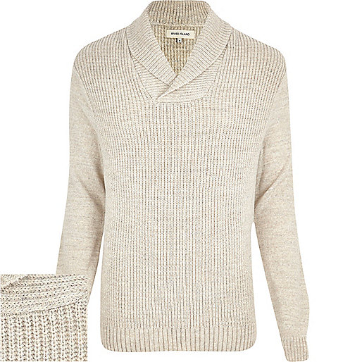 Ecru shawl neck jumper