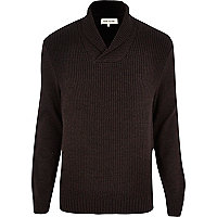 Purple shawl neck jumper