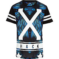 Blue Hack mirrored X print t-shirt