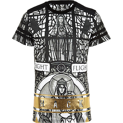 Black Hack stained window print t-shirt